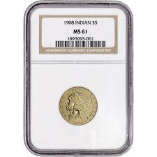 US Gold $5 Indian Head Half Eagle - NGC MS61 - Random Date
