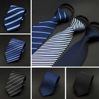 Men Classic 8cm Wide Striped Zipper Pre-tied Neckties Wedding Party Tie