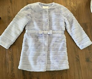 NWOT JANIE AND JACK Belted Faux Fur Coat - 5 to 6 - Periwinkle - $189 Lifestyle