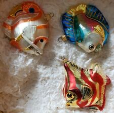Kurt Adler Polonaise 3 Tropical Fish Christmas Ornaments. W/Original Box.