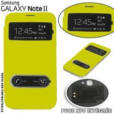 Flip Cover Fenêtre Jaune Samsung Galaxy Note 2 Puce NFC intégrée Film Offert Jau