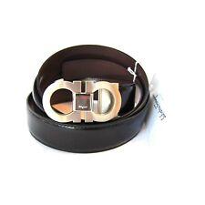 Y-3203990 New Salvatore Ferragamo Black Belt Silver Bulke Size 40 Fits Waist 38