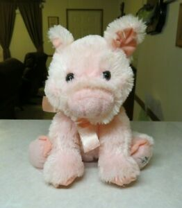 "Shining Stars Pink Pig  2006 Russ Berrie Stuffed Plush 10"" with Neck Bow"