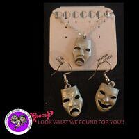 """""""JJ"""" Jonette Jewelry Pewter 'Comedy Tragedy'  Earrings Necklace Free Shipping"""