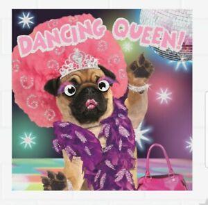 Hallmark Dancing Queen Pug Dog Birthday / Greeting Card