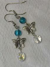 Silver Plated Charm Crystal Beads Handcrafted Earrings