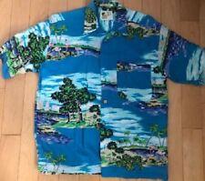 Hawaiian shirt classic vintage men's Medium Rayon M.E. Ocean scene Deep Blue