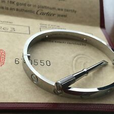CARTIER 18k White Gold 4 DIAMOND LOVE BRACELET AUTHENTIC WITH NEW SCREW SIZE 18