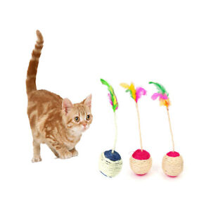 Ball Rolling Sisal Scratching Ball Cat Interactive Feather Toy Dice Ball