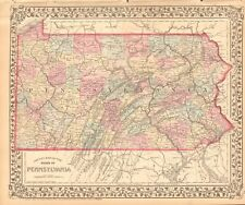 1874 ANTIQUE MAP - USA - PENNSYLVANIA IN COUNTIES