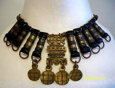Primitive Leather Witch Doctor/Shaman Necklace with Brass Fittings & Charm Rings
