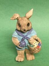 1991 Mervyn'S Easter Bunny With A Basket Of Eggs Collectible Figurine 3 1/2""