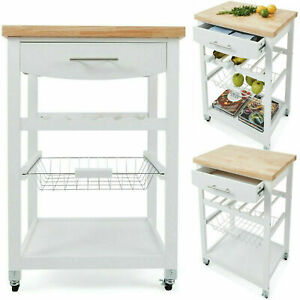 New Wooden Kitchen Utility Trolley Cart Drawer 2 Shelves Cabinet Rack White F4