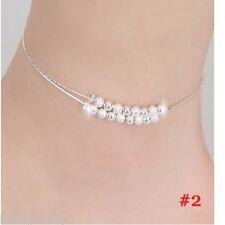 1 Damen Fußschmuck Fußkette Fußkettchen Perlen Kette Versilbert Elegant  21cm
