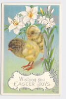 ANTIQUE POSTCARD EASTER CHICKENS CHICKS CROSS RELIGIOUS EASTER LILLY EMBOSSED WI