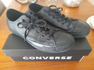 Converse All Star Mono Black Leather Converse School shoes? Size 5 WORN TWICE