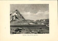 Stampa antica montagna VALFURVA PASSO GAVIA Lago Bianco Valtellina Sondrio 1934