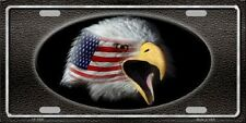 American Flag with Eagle Black Metal Novelty License Plate Tag