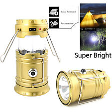 Portable LED USB Solar Rechargeable Lantern Outdoor Camping Hiking Lamp Light US