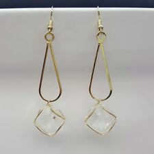 Clear Glass Geometric Earrings Pair Gold Colour Drop Dangle Fashion Jewellery