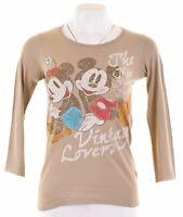 DISNEY Womens Graphic Top Long Sleeve Size 6 XS Khaki Cotton  LB14