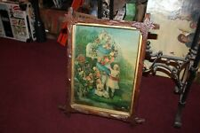 Antique Victorian Chromolithograph Suffer Little Children Crucifix Wood Frame