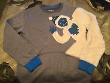Cat & Jack Gray Pocket Sweatshirt Furry Abominable Snowman Sz L 12/14