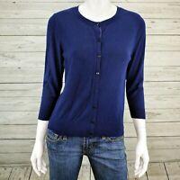 Halogen Blue Button-Up Cardigan Sweater Women's Large