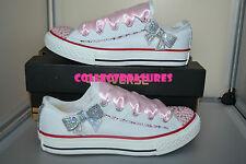 Custom Crystal Diamante Bling Wedding White Converse Size UK 3 4 5 6 7 8 9 Pink