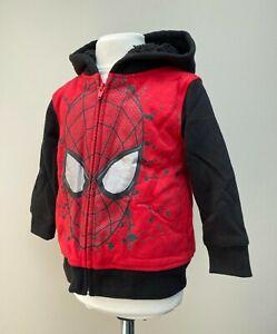 Marvel Kids Spiderman Sherpa Hooide Jacket Coat Full Zip Size 2T Red BNWT
