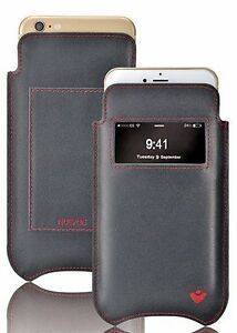 For iPhone 6/6s Case BLACK Napa Leather NueVue Screen Cleaning Sanitizing WALLET