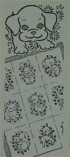 Vintage Baby Animal Embroidered Crib Quilt Pattern 1940s Sewing Material Fabric