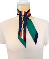 NWT Gucci Baiadera Horsebit Silk Twilly Reversible Skinny Scarf Neck Bow