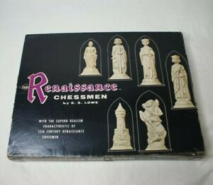VINTAGE 1959 RENAISSANCE CHESSMEN-BOARD-BOX #832 IVORY & BROWN E S LOWE,COMPLETE