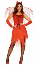 Womens Sexy Red Devil Halloween Fancy Dress Costume & Horns & Wings Ladies