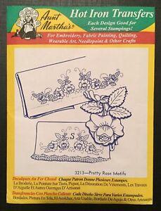 Hot Iron Transfers 3213 Aunt Martha's Pretty Rose Motifs Christmas Gift Idea