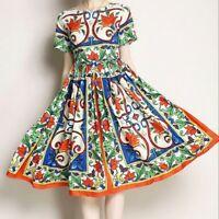 Womens Floral Print Knee Length Runway Highwaist Swing Sleeveless Vest Dress sz