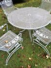 Vintage Grey White Wrought Iron Patio Furniture Set Table & 4 Chairs