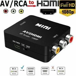 AV zu HDMI Adapter Konverter Full HD 1080P 4k Video Audio TV 3 RCA CVBS auf HDMI