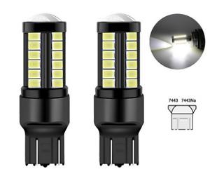 2x Ampoules T20 LED W21/5W Black 6000K Feu de jour Freins phares de recul  7443