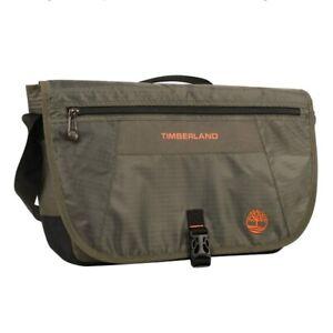 "NWT Timberland Twin Mountain 16"" Messenger Bag Olive Green Orange Handle & Strap"
