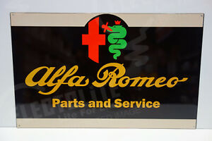 Alfa Romeo PARTS & SERVICE DEALER SIGN. 15 BY 24. ENAMEL COAT STEEL. PRISTINE!