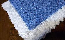 Christening  Baby Blanket Blue Boys Throw New Handmade White trim Bedding