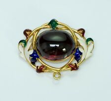 Antique Victorian Garnet Enamel Gold Brooch