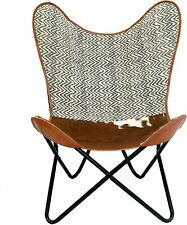 Leather Handmade Butterfly Chair Seat Folding Modern Sling Loung Vintage  Accent