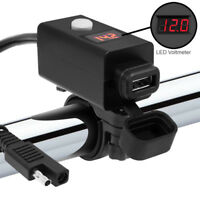 Universal Motorcycle SAE To USB Port Adapter Cable Phone Charger LED Voltmeter