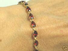 Solid Gold Red Garnet Tennis Bracelet