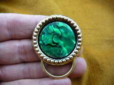 (#E737) Abalone shell GREEN Eyeglass brass holder pin badge