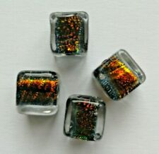 4 Dichroic Cube Beads, Amber/Multicolour, 10 mm. Jewellery/Bead Crafts