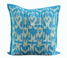 "INDIAN HANDMADE KANTHA WORK 16X16"" CUSHION COVER ETHNIC HOME DECOR LIVING ROOM"